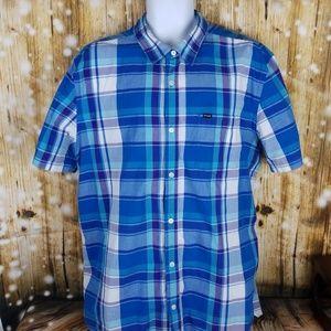 Hurley Shirts - Hurley Mens blue short sleeve XXL button up shirt